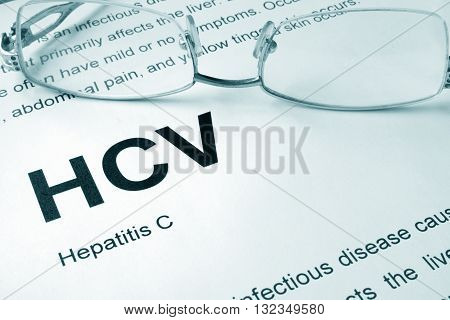 HCV written on a page. Medical concept.