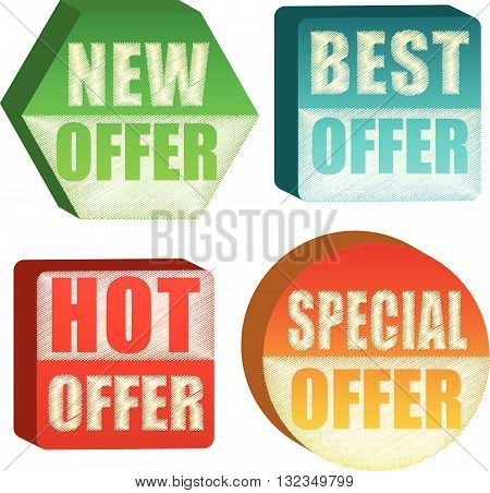 offer variations in retro style Illustrated, different colors 3d labels, vector