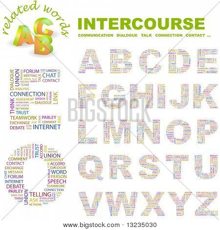 INTERCOURSE. Vector letter collection. Illustration with different association terms.