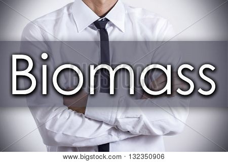 Biomass - Young Businessman With Text - Business Concept