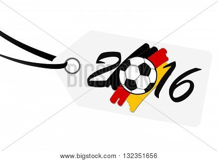 hang tag with lettering 2016 soccer ball and german national colors