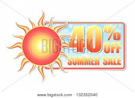 40 percentages off summer sale banner - text in blue label with red yellow sun and white daisy flowers, business concept, vector