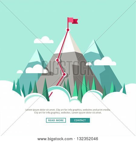Business concept, goal achievement, success, victory. Route with flag. Flat style, vector illustration.