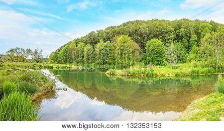 River Brenz near valley Eselsburger Tal - jewel of the swabian alps (Schwaebische Alb)