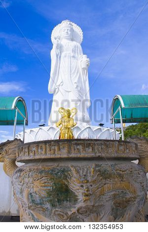 The white jade bodhisattva guan yin pavillion; The most beautiful statue of chaste the best in southem Thailand.