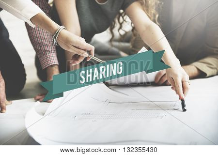Sharing Caring Share Opinion Social Networking Concept poster