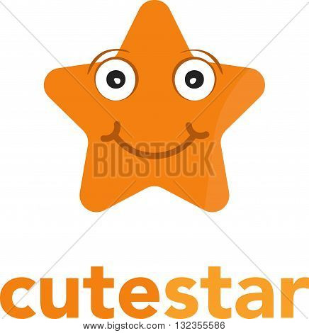 star shape business vector logo icon with face
