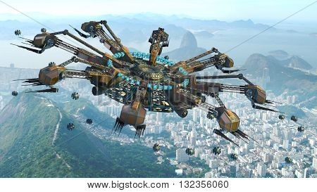 3D Rendering of spider-shaped UFO and drones, above buildings in Rio de Janeiro, Brazil, for futuristic, fantasy, interstellar travel or wargame backgrounds.