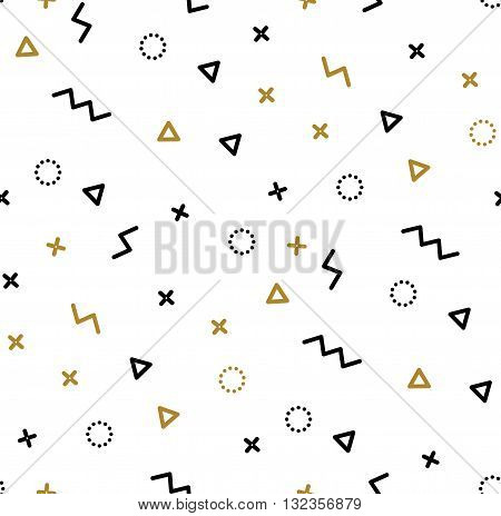 Seamless patterns in yellow colors with geometric elements. Pattern hipster style. Pattern suitable for posters postcards fabric or wrapping paper