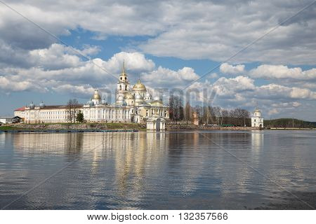Nilo-Stolobensky monastery view from lake Seliger at sunny day. Russia