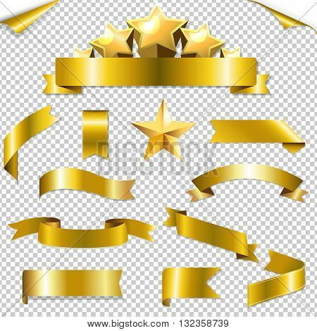 Set Golden Ribbons And Stars