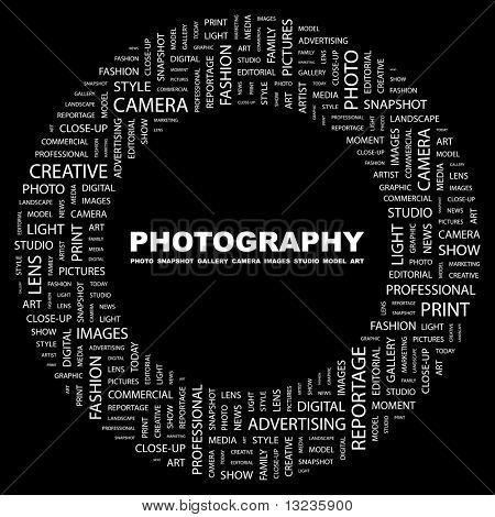 FOTOGRAFIE. Wort-Collage auf schwarzem Hintergrund. Abbildung mit verschiedenen Verband Bedingungen.