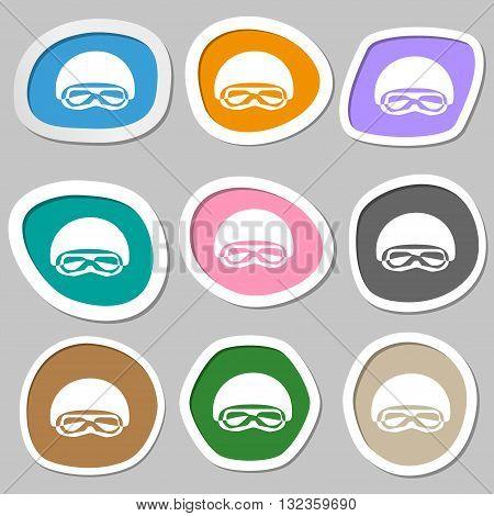 In A Ski Masks, Snowboard Ski Goggles, Diving Mask Symbols. Multicolored Paper Stickers. Vector