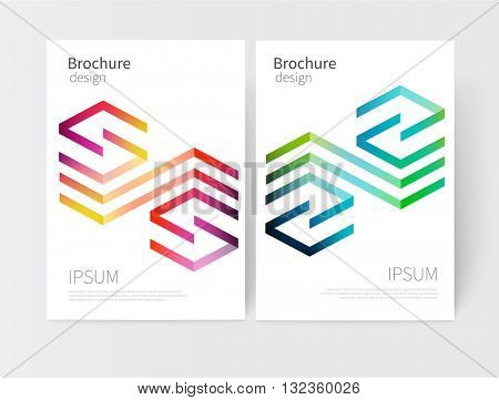 Creative concept design element. Vector set abstract geometric background green, blue, red, purple and yellow Diagonal lines Modern White business brochure cover template EPS 10