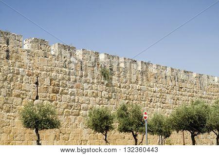 Ancient walls of Jerusalem Israel. Streets in Jerusalem