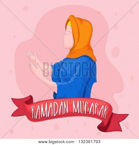 Religious Muslim Woman reading Namaz (Islamic Prayer) and creative ribbon on pink background for Holy Month of Prayers Ramadan Kareem celebration.
