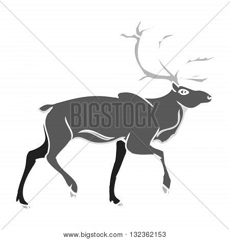 Graphic image of deer. Grey deer silhouette on a white background. Abstract illustration vector