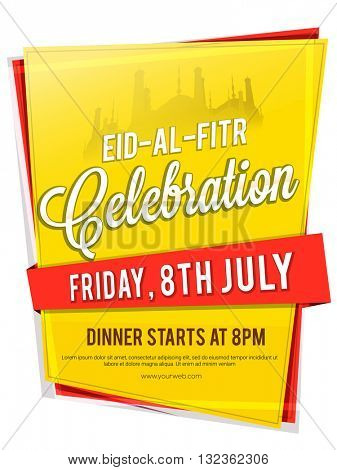 Beautiful Invitation Card design with date and time details for Muslim Community Festival, Eid-Al-Fitr celebration.