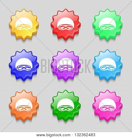 In A Ski Masks, Snowboard Ski Goggles, Diving Mask Icon Sign. Symbol On Nine Wavy Colourful Buttons.
