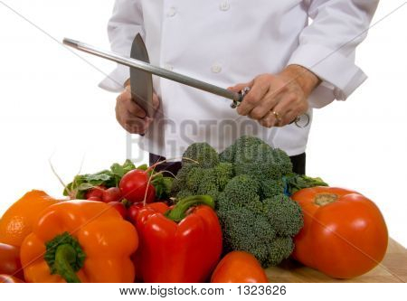 Chef - Man Sharpening Knife