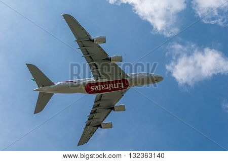 MANCHESTER UNITED KINGDOM - May 30 2016: Emirates Airbus A380 underside view. Manchester Airport May 30 2016.