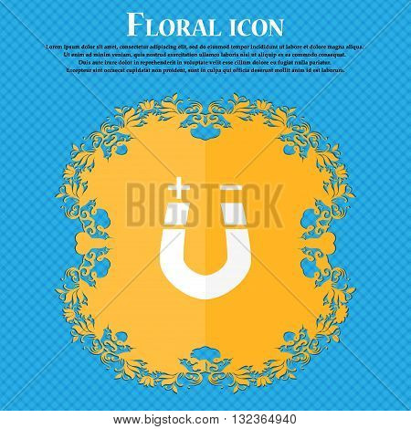Horseshoe Magnet, Magnetism, Magnetize, Attraction Icon. Floral Flat Design On A Blue Abstract Backg