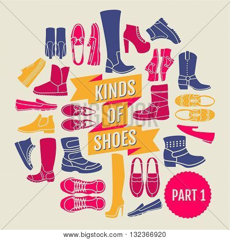 kinds of shoes. part 1. set of flat icons