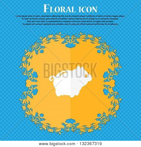 Piggy Bank Icon. Floral Flat Design On A Blue Abstract Background With Place For Your Text. Vector