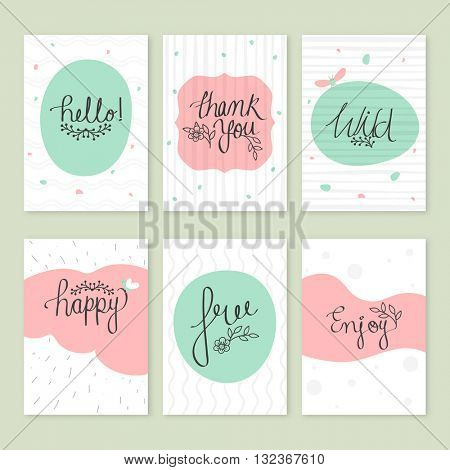 Set of creative hand drawn greeting card or invitation card design with different typographic collection in doodle style.