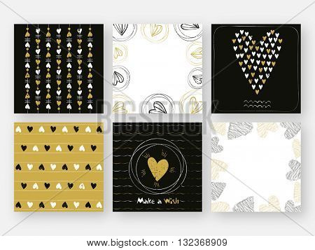 Set of beautiful Love Card templates. Hand drawn texture with hearts. Wedding, Anniversary, Valentine's Day, Birthday, Party. Can be used as poster, banner, flyer, greeting card, invitation card.