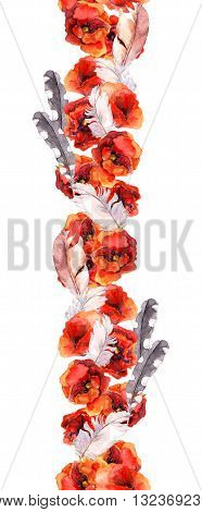 Floral seamless watercolor frame border with poppies. Aquarel