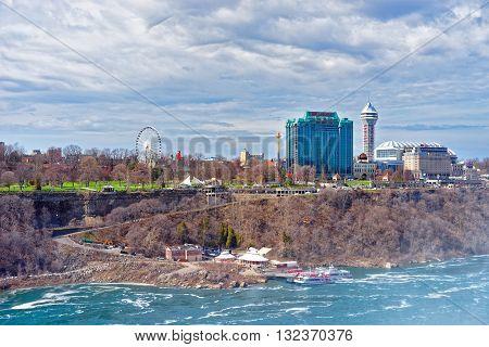 Niagara River And Cityscape In Ontario Near Niagara Falls