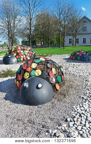 Figures Of Ladybirds In The Street Of Ventspils In Latvia