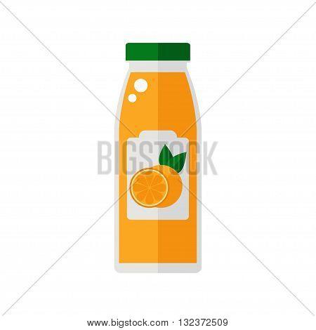 Juice icon. Bottle of juice isolated icon on white background. Orange juice icon. Flat style vector illustration.