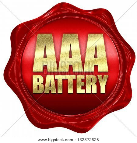 aaa battery, 3D rendering, a red wax seal