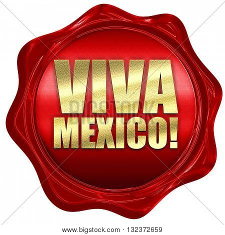 Viva mexico, 3D rendering, a red wax seal