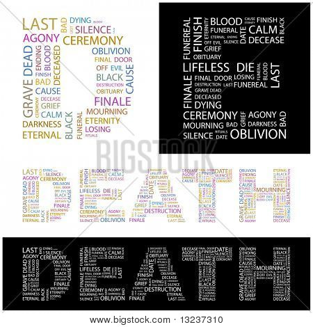 DEATH. Word collage. Illustration with different association terms.