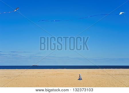 Child And Paper Kites Above Ocean Shore At Sandy Hook