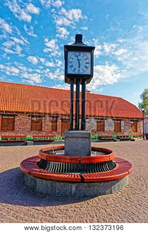 Clock In The Town Hall Square Of Ventspils