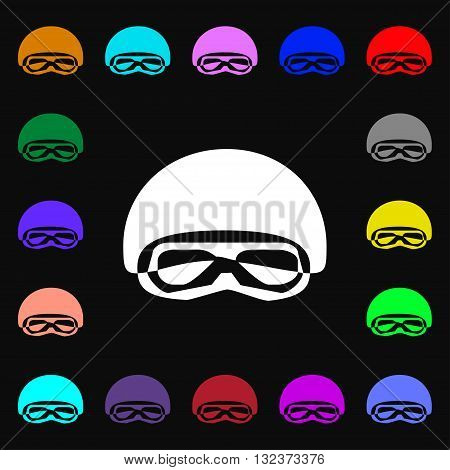 In A Ski Masks, Snowboard Ski Goggles, Diving Mask Icon Sign. Lots Of Colorful Symbols For Your Desi