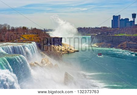 Niagara Falls And A Ferry From Canadian Side