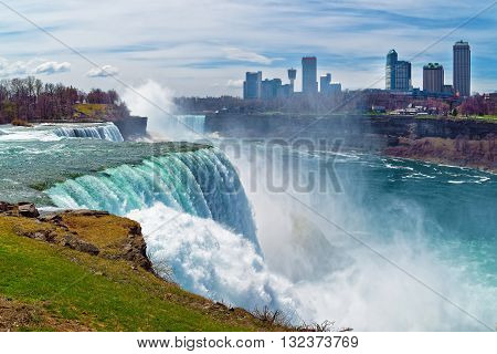 Niagara Falls And Skyscrapers In Canadian Side