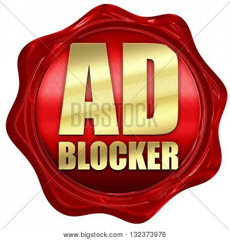 ad blocker, 3D rendering, a red wax seal