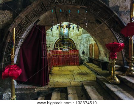 Jerusalem, Israel - February 16, 2013: Melisende Of Jerusalem Crypt