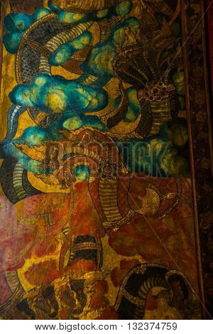 Wat Pho Or Wat Phra Chetuphon,the Temple Of The Reclining Buddha In Bangkok Of Thailand.ornament, Te