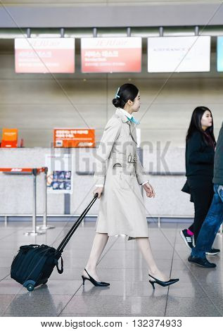 Asian Korean Air Flight Hostess In Incheon International Airport