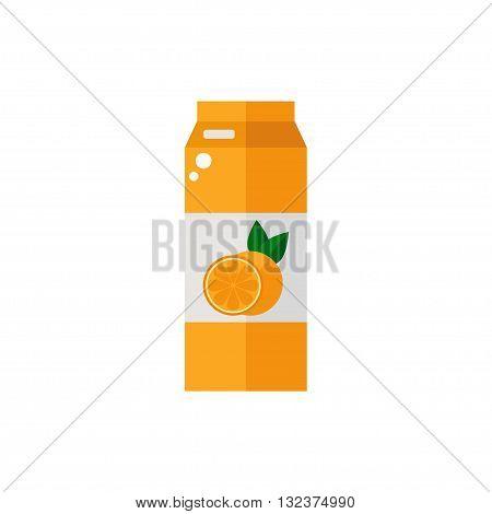 Pack of juice. Orange pack of juice icon isolated on white background. Fresh orange juice. Flat style vector illustration.