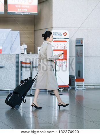 Asian Air Flight Hostess In International Airport Of Incheon