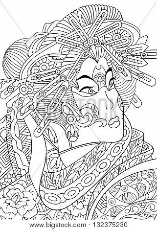 Zentangle stylized cartoon geisha woman (japanese dancing actress). Hand drawn sketch