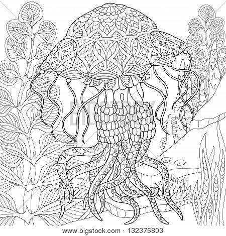 Zentangle stylized cartoon jellyfish swimming among seaweed (alga). Hand drawn sketch poster